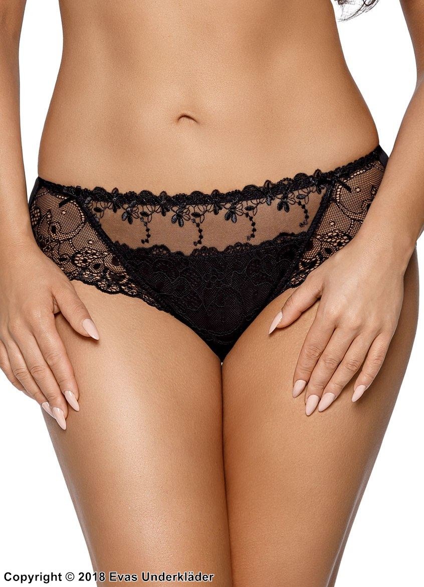 Romantic panty, soft lace, embroidery